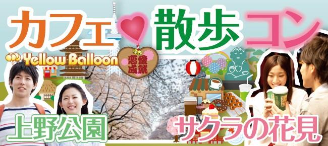 【上野公園】『カフェ×散歩コン』お花見シーズン到来!男女ペアで人気桜スポットのサクラトンネルを歩こう!座って会話が楽しめるカフェタイムあり