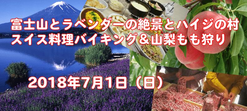 東京発!富士山とラベンダーの絶景とハイジ村のスイス料理バイキング&もも狩り【婚活バスツアー】