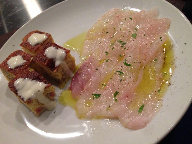 トルティージャと鯛のカルパッチョ
